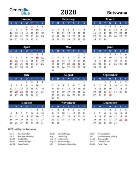 calendar botswana  holidays