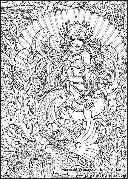 hard coloring pages of mermaids adult coloring pages mermaids free coloring page