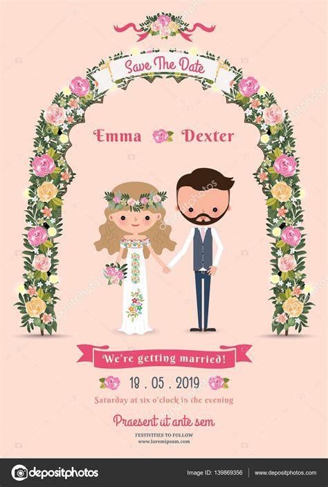 Einladungskarten Hochzeit Comic by Rustikale Bl 252 Te Blumen Comic Paar Hochzeit Einladungskarte