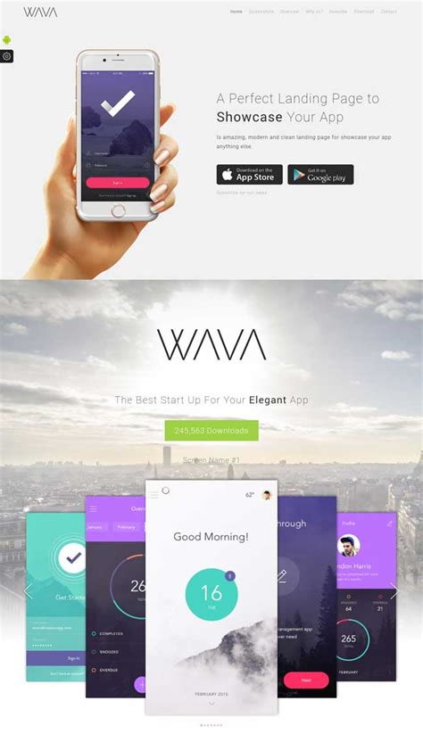 20 Best Mobile App Landing Page Templates 2016 App Landing Page Template