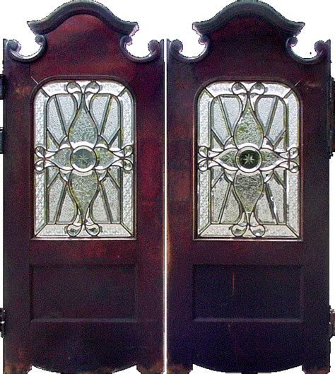 Pair Of Historic Milwaukee Schlitz Palm Garden Mahogany Glass Saloon Doors