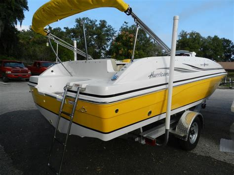 deck boat with fishing package sundeck sport 188 hurricane deck boat yellow with fishing