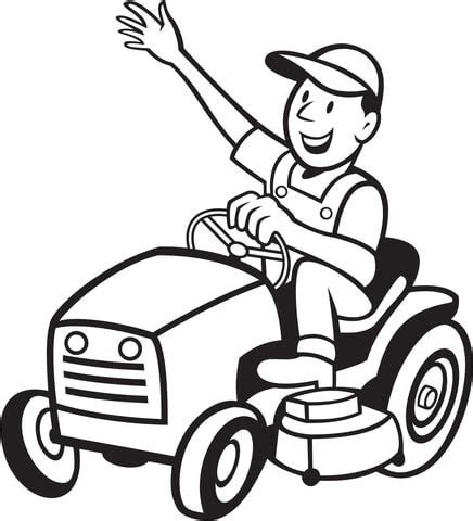 farmer riding a tractor mower coloring page | free