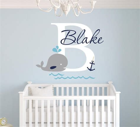 Boys Nursery Wall Decals Custom Whale Name Wall Decal Nursery Wall Decals Boys Vinyl Sticker Wall 22x26inch In Wall