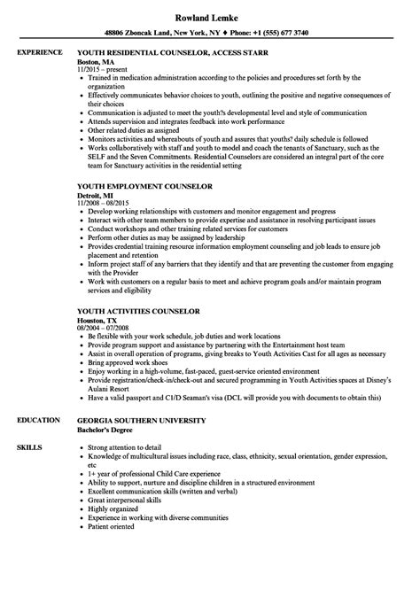 youth resume exles youth counselor resume resume ideas
