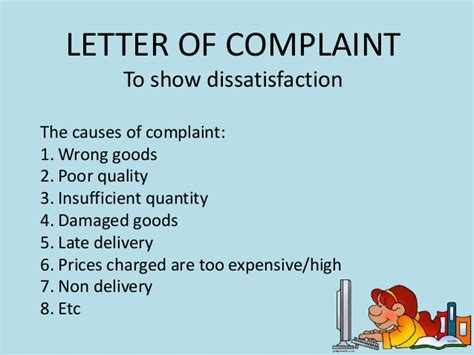 Complaint Letter For Poor Quality Letter Of Complaint And Adjustment