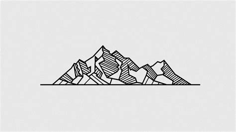 drawn mountain geometric pencil and in color drawn