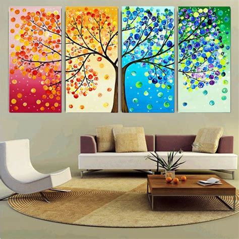 art home decoration pictures diy handmade colorful season tree counted cross stitch