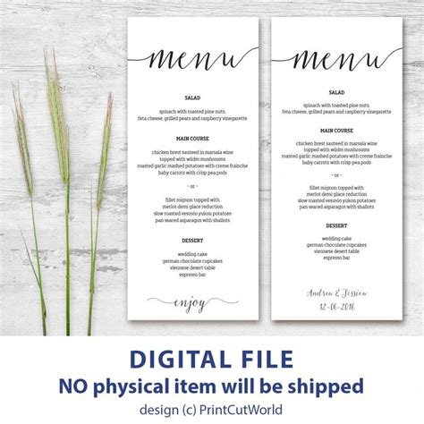 menu place cards template printable menu card 4x9 rustic wedding menu template