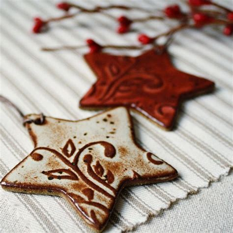 handmade ceramic christmas ornaments eco stars dough