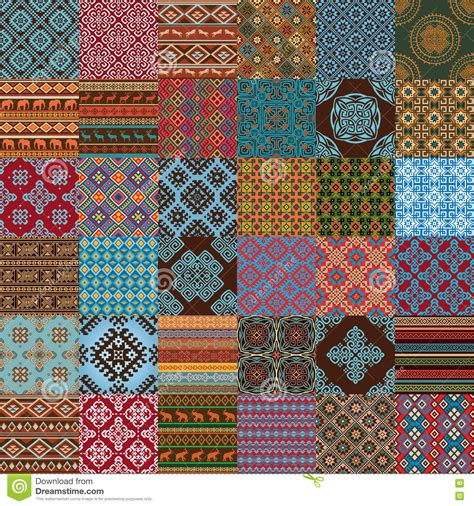 pattern green red brown red blue ethnic seamless textures stock vector image 72253835