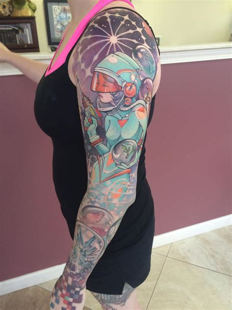 studio one tattoo wip update 1 session left space sleeve by teresa