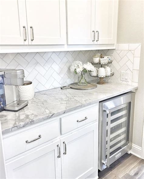 backsplash with white kitchen cabinets wine fridge white cabinets grey counters home sweet