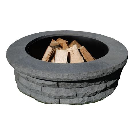pit ring kit nantucket pavers ledgestone 47 in concrete pit ring kit gray shop your way
