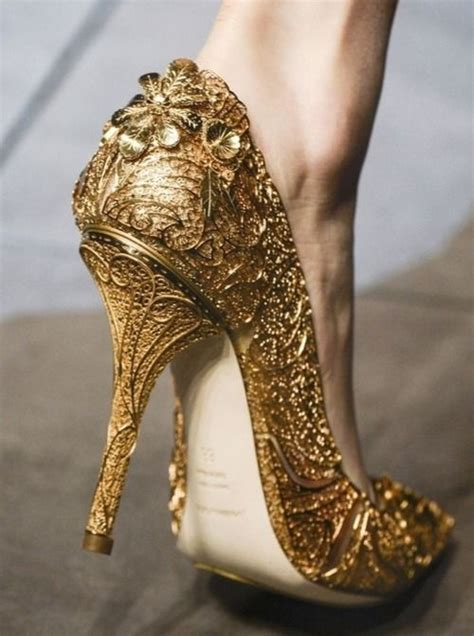 dolce gabbana gold gilded heels women shoes