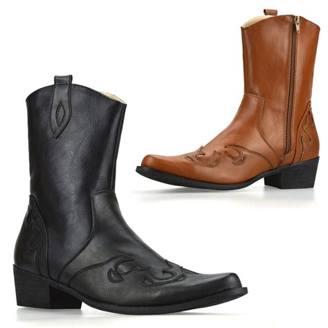 western biker boots mens new cuban heel western style zip up ankle cowboy