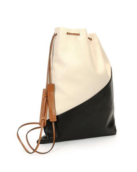 leather laundry marni bicolor leather laundry bag white black