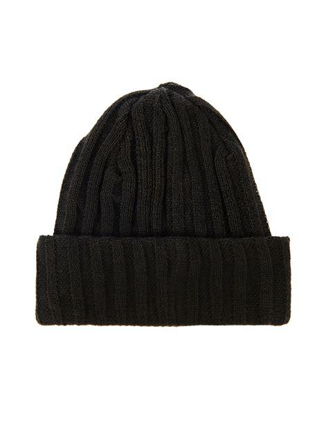 black knit beanie yohji yamamoto ribbed knit beanie hat in black for lyst