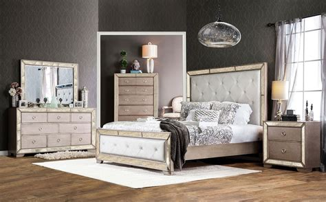 Mirrored Bedroom Set Furniture Ailey Bedroom Furniture With Mirrored Accents