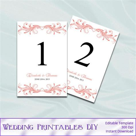wedding table number printable 4x6 instant by coral wedding table number template diy printable heart