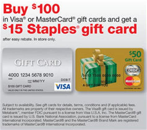 Gift Cards Visa Or Mastercard - staples 15 easy rebate wyb 100 mastercard or visa gift card southern savers