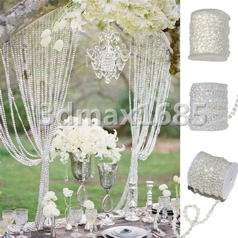 20m x 12mm Acrylic Crystal Clear Bead Garland Chandelier