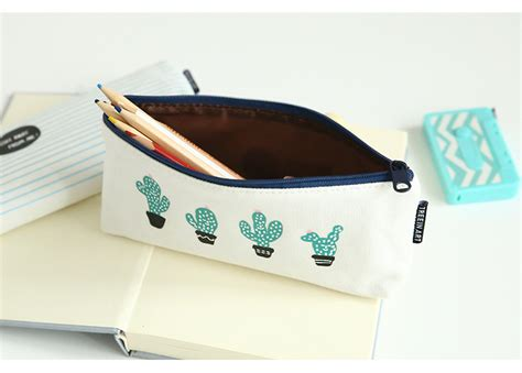 Tempat Pensil Kawaii kotak pensil kawaii cactus white green