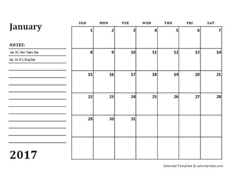 calendar with notes template 2017 monthly calendar template with notes free printable