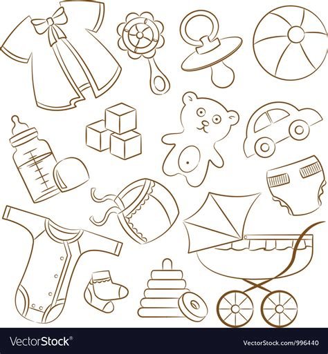 free doodle baby doodle baby icon set royalty free vector image