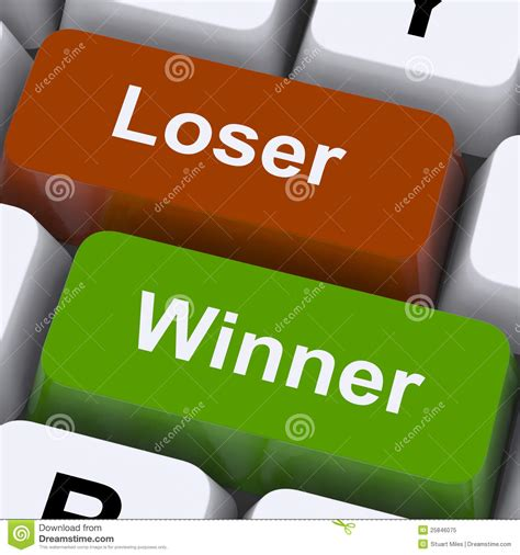 Loser To Winner loser winner shows risk and chance royalty free stock