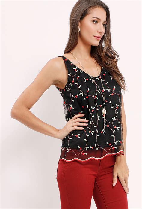 sale circular mesh top floral mesh top shop sale tops at papaya clothing