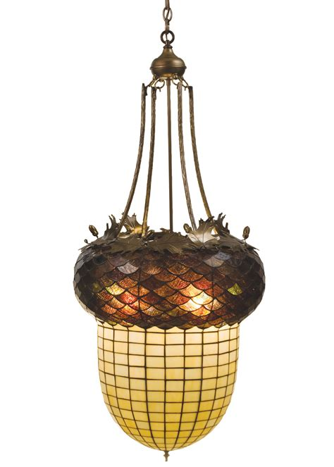Acorn Chandelier Meyda 47612 Acorn Oak Leaves Inverted Chandelier