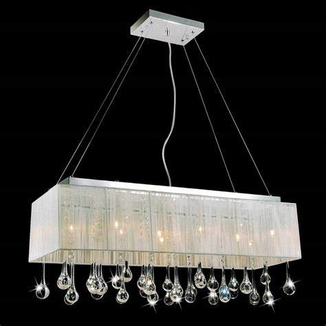 Rectangular Modern Chandelier Brizzo Lighting Stores 32 Quot Gocce Modern String Shade Rectangular Chandelier Chrome With