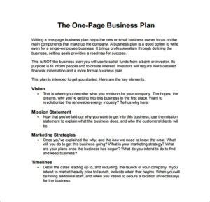 Resume Samples Restaurant Manager by One Page Business Plan Example Pdf Template Free Download