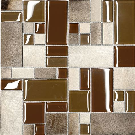 glass sheet backsplash brown metal glass modern kitchen mosaic backsplash tile 12 quot x 12 quot sheet modern mosaic tile