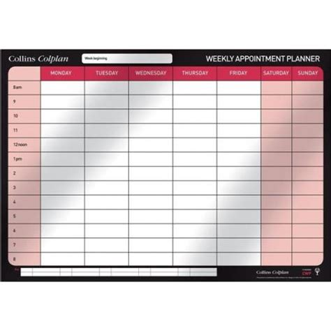 image gallery 2014 weekly planners collins colplan cwp 2014 weekly appointment wall planner