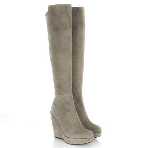wedge knee boots stuart weitzman taupe demiswoon women s wedge knee boot