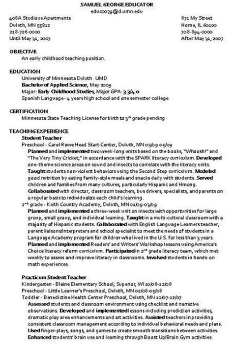 Resume Objective Exles Child Care child care instructor resume sle