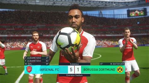 arsenal pes 2018 aubameyang debut for arsenal i pes 2018 full match