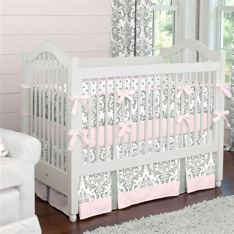 grey crib bedding pink and gray traditions crib bedding girl baby bedding