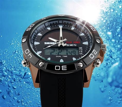 Jam Skmei 1129 Solar Power Hitam skmei solar power led sport water resistant 50m