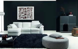 Black Livingroom Furniture by Minimalist Natussi Java Living Room Design With Black Wall