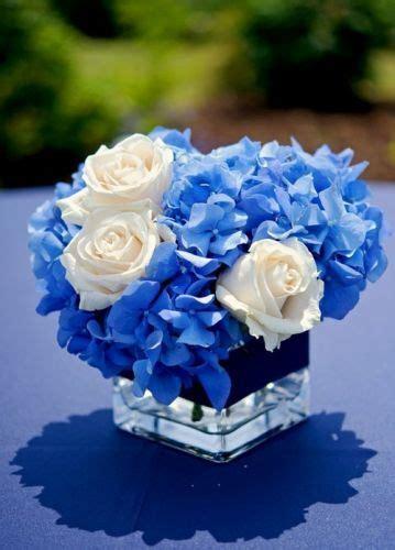 blue hydrangia  white roses  square vase blue
