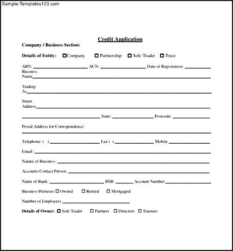 Generic Credit Application Form Template Credit Application Form Template