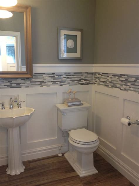 Wainscoting Ideas For Bathrooms White Board And Batten Wainscot With Glass Tile Inlay
