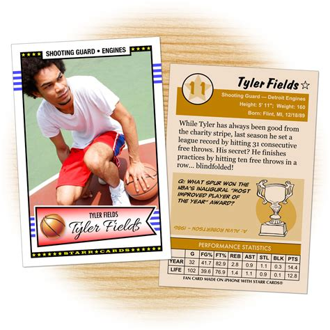 Sports Player Card Template by Custom Basketball Cards Retro 50 Series Cards