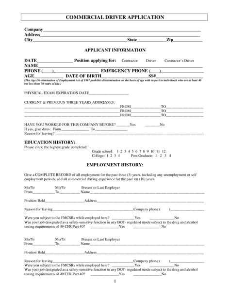 truck driver employment application form template blank commercial driver application free