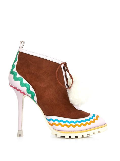 webster boots webster katy suede and leather ankle boots in brown