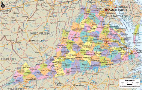 virginia on a map of the usa detailed political map of virginia ezilon maps