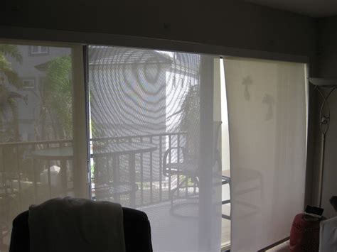 Three Solar Shades On Sliding Glass Door With Continous Rolling Shades For Sliding Glass Doors